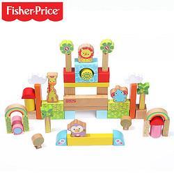 Fisher-Price费雪50\/100粒木制积木玩具1-2岁3-6周岁男女孩儿童婴儿宝宝FP6004A桶装50粒    98元