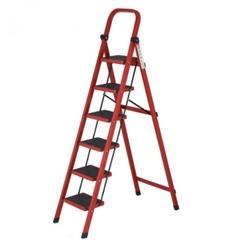 PLUS会员:怡奥家用人字六步折叠梯红色    209元