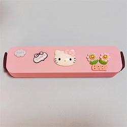 诺得卡通可爱不锈钢少女便携式餐具盒旅行外带小学生儿童筷子勺子套装 38.95元