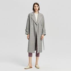 ME&CITY秋冬女装休闲商务腰带翻领梭织格子外套女式风衣 126元