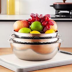 MAXCOOK美厨不锈钢盆洗菜篮调料盆和面盆米筛味斗三件套烘焙工具盆MCM-3 29元